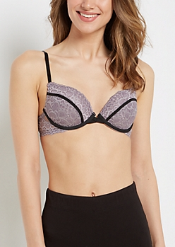 Purple Lace Piped Deep Plunge Bra