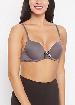 Purple Bow Push-Up T-Shirt Bra