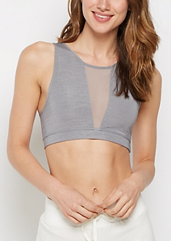 Gray Mesh Inset High Neck Sports Bra