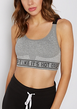 Gray Drop It Criss-Cross Back Sports Bra