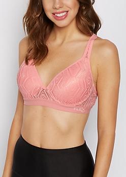 Pink Crochet Racerback Push Up Bra