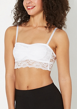 White Cinched Front Lace Bandeau