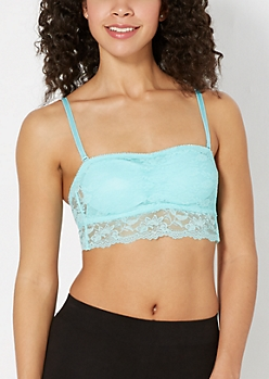Turquoise Cinched Front Lace Bandeau