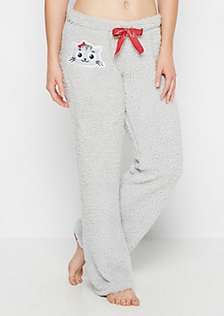 Kitty Embroidered Sherpa Sleep Pant