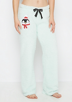 Penguin Embroidered Sherpa Sleep Pant
