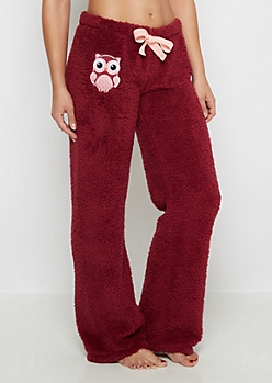 Owl Embroidered Sherpa Sleep Pant