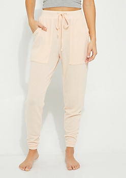 Peach Terry Knit Boyfriend Jogger