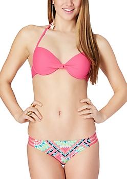 Neon Fuschia Neon Push-Up Halter Bikini Top