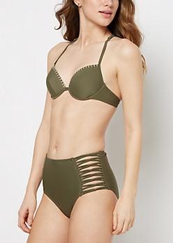 Olive Crochet Racerback Bikini Top