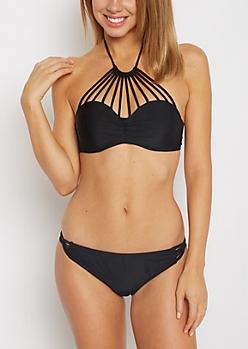 Black Caged Bandeau Bikini Top