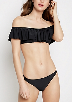 Black Flounce Off-Shoulder Bikini Top