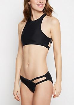 Black High Neck Strappy Bikini Top