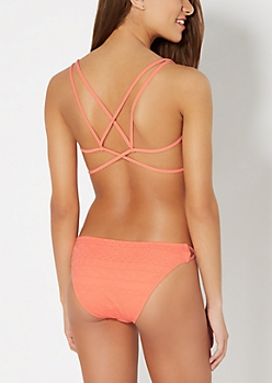 Peach Raised Aztec Caged Bikini Top