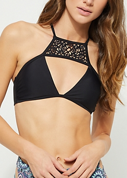 Black High Neck Cutout Lace Up Bikini Top
