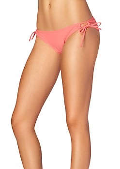 Neon Coral Loop Side Tie Bottom
