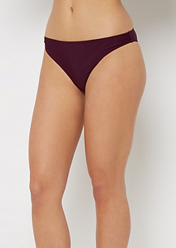 Plum Ruched Back Bikini Bottom