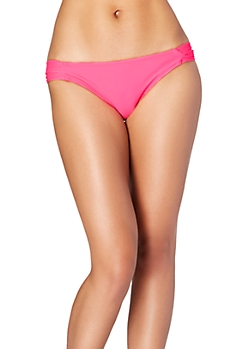 Fuschia Retro Ruched Bikini Bottom