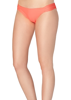Coral Retro Ruched Bikini Bottom