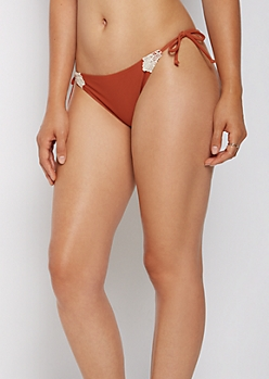 Burnt Orange Side Tie Bikini Bottom