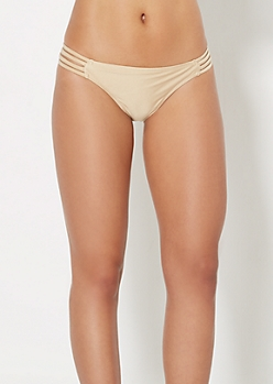 Gold Caged Strap Bikini Bottom