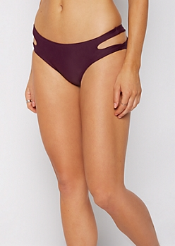 Plum Cut-Out Hip Bikini Bottom