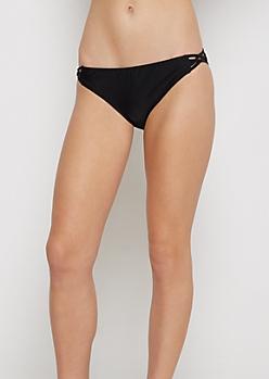 Black Cage Strapped Bikini Bottom