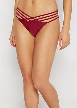 Burgundy Cross-Caged Bikini Bottom