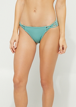 Green Crossing Strap Bikini Bottoms