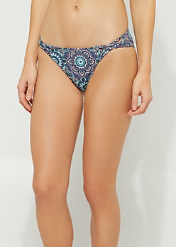 Mandala Print Crossing Strap Bikini Bottoms