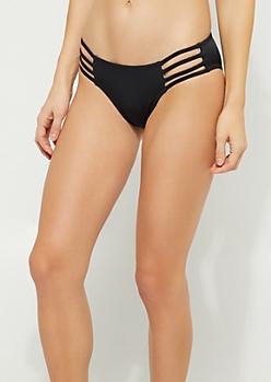 Black Strappy Side Bikini Bottoms