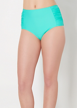 Mint Ruched Side High Waist Bikini Bottom