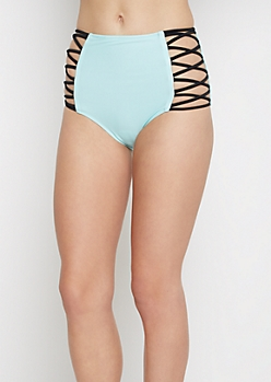 Light Blue Caged High Waist Bikini Bottom