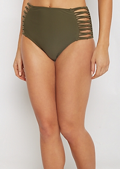 Olive Caged High Waist Bikini Bottom