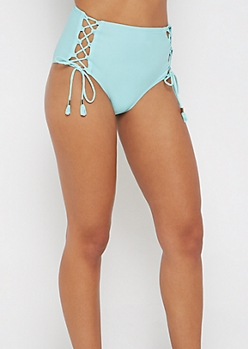 Light Blue Lace-Up High Waist Bikini Bottom