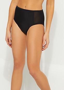 Black High Waist Mesh Swimsuit Bottoms
