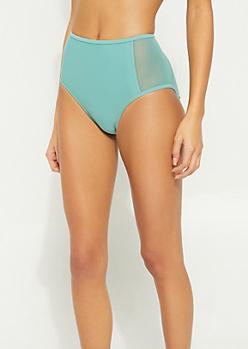 Green High Waist Mesh Swimsuit Bottoms
