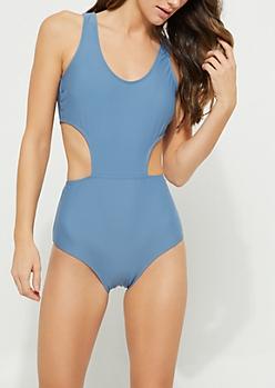 Blue Side Cutout Swimsuit