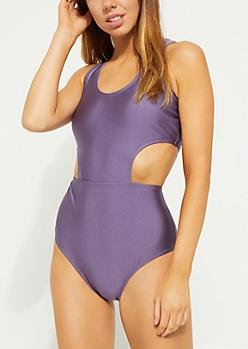 Purple Side Cutout Swimsuit