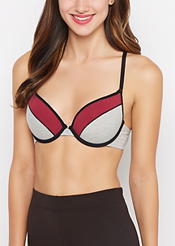 Burgundy Blocked Racerback Deep Plunge Bra