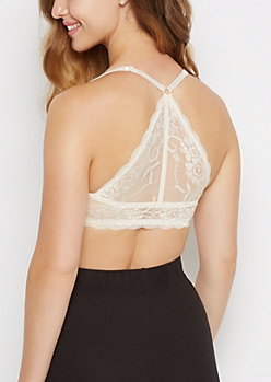 Ivory Lace Racerback Deep Plunge Push-Up Bra