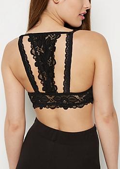 Black Floral Lace Bar Back Push Up Bra