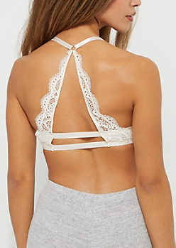 Ivory Lace Racerback Deep Plunge Push Up Bra