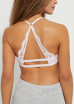 Lavender Lace Racerback Deep Plunge Push Up Bra