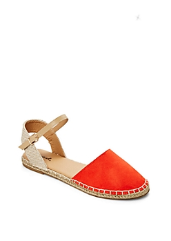 Medium Orange Ankle Strap Espadrille Sandal By Qupid®