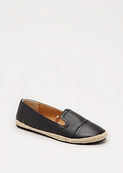 Black Faux Leather Espadrille Loafer