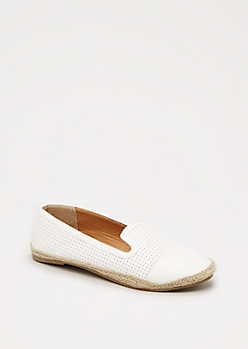 White Faux Leather Espadrille Loafer
