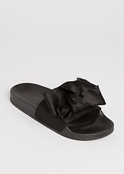 Black Satin Bow Slide On By Wild Diva