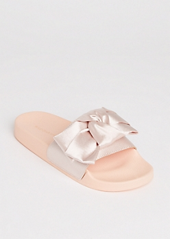 Light Pink Satin Bow Slide On By Wild Diva