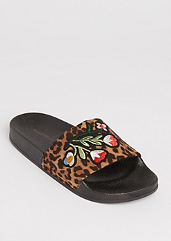Floral & Leopard Slide On By Wild Diva