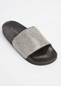 Black Rhinestone Slide On By Wild Diva